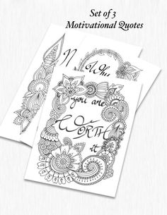 Set Of 3 Motivational Quotes Colouring Pages For Adults Instant PDF Download Print