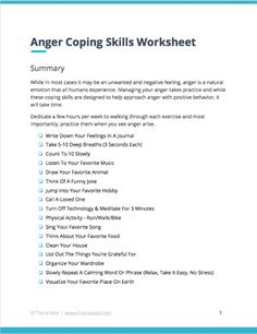 Anger Coping Skills Worksheet Anger Coping Skills, Coping Skills Worksheets, Anger Management Worksheets, Anger Management For Kids, Therapy Worksheets, Group Therapy Activities, Counseling Activities, Counseling Worksheets, Mental Health Counseling