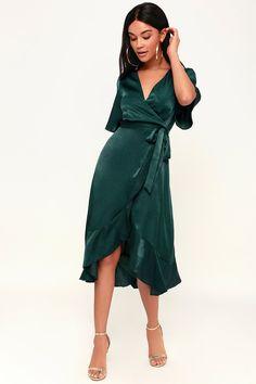 8c118e32d7 Wrapped Up In Love Dark Green Satin Wrap Midi Dress