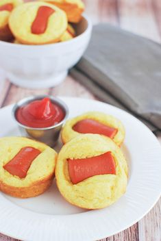 Cheesy Corn Dog Muffins - a kid-friendly snack that's perfect for the Superbowl!