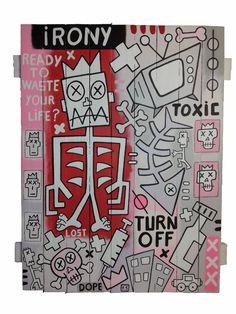 """""""Irony"""" (acrylic on wooden pallet 95x78cm) available on I-KOKOON (www.i-kokoon.com) -Yann Sciberras 2017   """"Courir pour rester à la même place et contempler de façon narcissique et sans fin notre propre mise en scène dans un présent qui s'enfuit … Rythmé par l'obsolescence de l'information, des idées, des personnes, de la culture… """""""