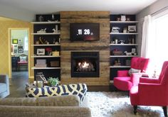 Great pop of color on those chairs. Love the custom fireplace too.   Autumn & Justin's Sleek Yet Rustic Ranch