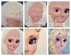 Fondant Elsa Frozen with a little dimension added and a half D! Bolo Frozen, Elsa Frozen, Frozen Fondant, Fondant Cake Tutorial, Fondant Toppers, Cake Decorating Tutorials, Cake Decorating Techniques, Frozen Theme Cake, Elsa Cakes