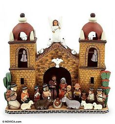 Ceramic nativity scene, 'Central Church' by NOVICA