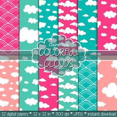 Hey, I found this really awesome Etsy listing at https://www.etsy.com/listing/219947418/clouds-digital-paper-colorful-clouds