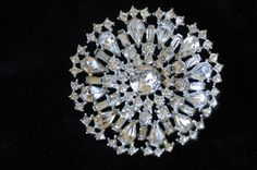 Vintage Brooch Clear Rhinestones Rhodium Plate by PageScrappers, $22.00