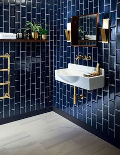 Bathroom Tiles Design Create A Fabulous Bath Tile Design. 40 Light Blue Bathroom Tile Ideas And Pictures Home and Family Art Deco Bathroom, Modern Bathroom, Gold Bathroom, Dark Tiled Bathroom, Bathroom Designs, Colourful Bathroom Tiles, Bathroom Colors, Bathroom Wall Tiles, Bathroom Goals