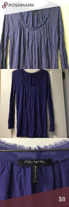 Daisy Fuentes Purple Top Deep purple 100% rayon top. Can be worn to work or casually. Beautiful sheer fans fringe around neckline. Worn once. Needs ironed. Brand new condition. Daisy Fuentes Tops Blouses