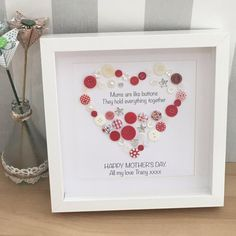 Gift for Mum Mums are Like Buttons Personalised Birthday Button Art, Button Crafts, Heart Button, Gifts For Mum, Gifts For Family, Mum Birthday, Birthday Gifts, Valentine Crafts, Valentines