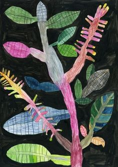 "illustration japonaise : Miroco Machiko, ""Vibrant Flora and Fauna"", feuillage Art Floral, Motif Floral, Art And Illustration, Guache, The Design Files, Naive Art, Japanese Artists, Botanical Art, Botanical Drawings"