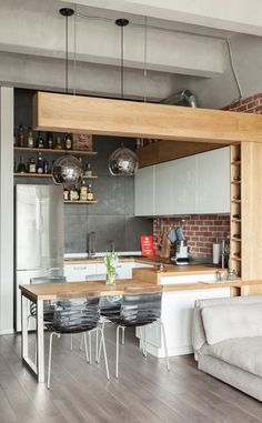 39 Dining Room Design Tips For Small Kitchen - Mia's Brilliant Ideas Apartment Kitchen, Living Room Kitchen, Home Decor Kitchen, New Kitchen, Home Kitchens, Kitchen Ideas, Kitchen Inspiration, Loft Kitchen, Kitchen Sinks