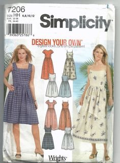 Uncut, Misses Size 6-12, Sewing Pattern, Simplicity 7206, Design your own, Dress, Sundress, Summer, Sleeveless, Easy, Simple, Woman, Teen