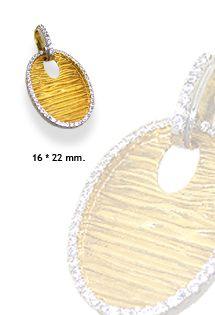 Original colgante de oro de 1ª Ley con motivo de aguas y biselado con piedras de circonitas. Brillarás.