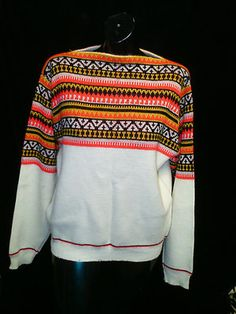 VTG BOAT NECK ETHINEC / INDIAN/ TRIBAL PRINT SWEATER SIZE: LARGE RETRO BOHO FESTIVAL GEEK NERD $39.99