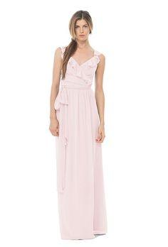 A ruffled wrap bridesmaid dress | @joannaaugust | Brides.com | Brides.com