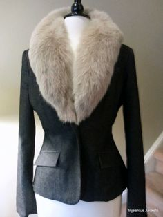 Recycled black jean blazer- Vintage taupe fox from 1940's coat- transformed into a fabulous wearable classic...get in touch today to start creating your very own custom jacket- All INJEANIUS JACKETS are CUSTOM upcycled by InjeaniusJackets, $350.00