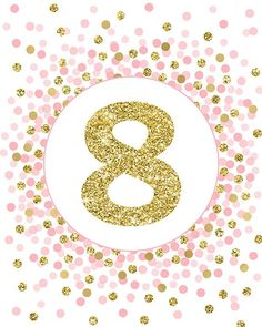 Birthday Sign Printable Eighth Birthday Party Decorations Pink And Gold Girl Birthday Party Sign Gold And Pink Birthday Banner 8 Sign Pink Birthday, 8th Birthday, Birthday Parties, Gold Girl, Pink And Gold, Printing Services, Online Printing, Party Signs, Numerology