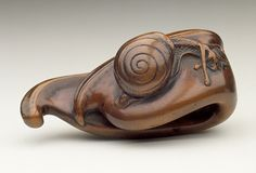 Japan  Bean Pod and Snail, 18th century  Netsuke, Wood. LACMA