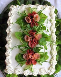 Orange cake without flour - HQ Recipes Sandwich Torte, Deco Fruit, Salad Cake, Food Carving, Food Garnishes, Swedish Recipes, Tea Sandwiches, Snacks Für Party, Food Decoration
