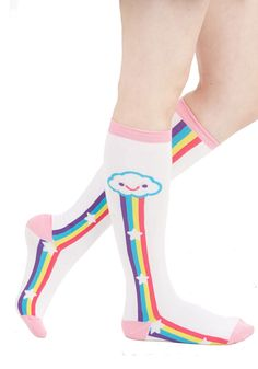 Rainbow on My Parade Socks. Nothing can bring you down when youre wearing these whimsical, printed socks! #white #modcloth