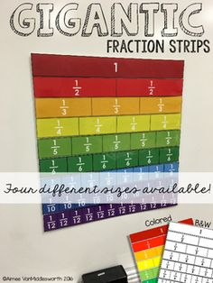 Gigantic Math Manipulative Bundle Fraction strips are a great visual to help students understand fractions, compare fractions, and find equivalent fractions. Math Manipulatives, Math Fractions, Maths, Teaching Fractions, Math Games, Sixth Grade Math, Grade 3, Finding Equivalent Fractions, Math Classroom