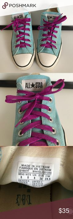 Converse Canvas All Stars size 8 Converse Canvas All Stars size 8. Lt blue with purple sparkle laces Converse Shoes Sneakers
