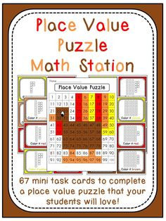 Thanksgiving Place Value math station where kids use base 10 cards to color in a hundreds chart picture