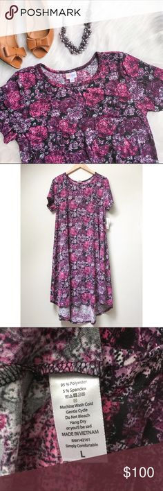 NWT LuLaRoe Carly LuLaRoe's Carly dress is a swing dress that features a patch pocket, a flattering high-low hemline, and cool open sleeves. This Carly is an original from LuLaRoe's Carly debut in the summer of 2016, a super hot and rare vintage LuLaRoe find! LuLaRoe Dresses