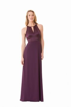 This cocktail-length Bari Jay 1654-S sleeveless bridesmaid dress features a keyhole charmeuse bodice with a jewel neckline and cut-in shoulders. The keyhole is mirrored on the back bodice and the Bella chiffon, A-line skirt finishes in an above the knee hemline.