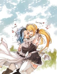 Fairy Tail Couples lucy and levy protecting gajeel and natsu - Google Search