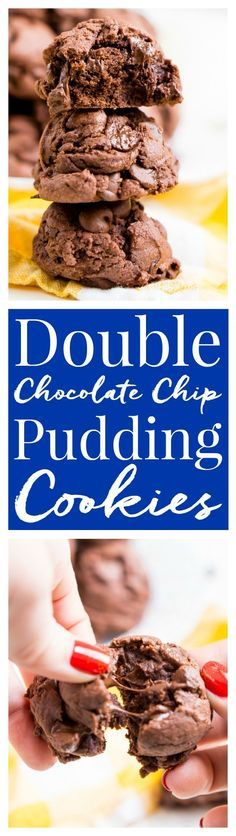 These Double Chocolate Chip Pudding Cookies have a slightly crisp outer shell and are chewy and gooey on the inside almost like a brownie. Pull the first batch out of the oven in 30 minutes! via /sugarandsoulco/