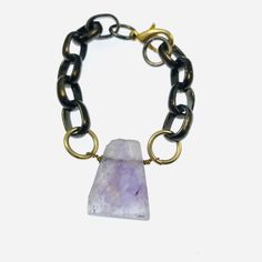 Chunky chain and raw amethyst bracelet