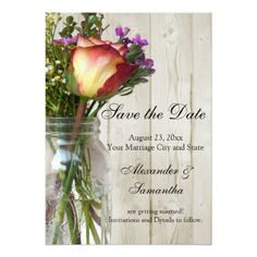 Mason Jar w/Rose/Wildflowers Save the Date Card