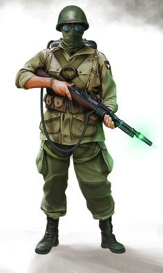 The SOPB has access to experimental weaponry such as the Tesla Rifle, an electric arc generator of great destructive power. This paratrooper carries the lighter, portable version along with the protective goggles needed for its use.