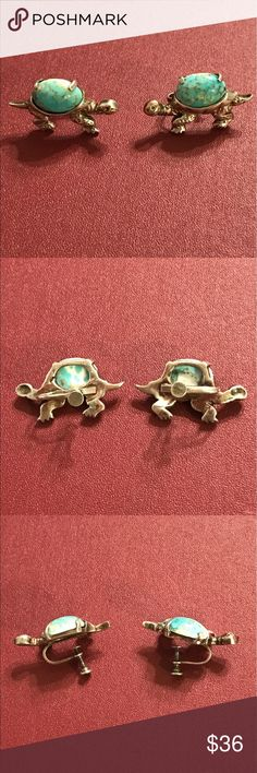 Vintage turtle screw back earrings Vintage faux turquoise and sterling silver turtle earrings with screw back. Very cute and fun, great for anyone that likes unique jewelry! Jewelry Earrings