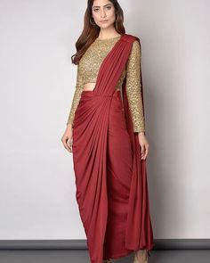 Gold And Maroon saree Elegant Saree CLICK Visit link for more info Dhoti Saree, Drape Sarees, Saree Draping Styles, Saree Gown, Sari Dress, Saree Styles, Knit Dress, Lehenga Designs, Saree Blouse Designs
