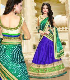 Buy violet silk embroidered unstitched lehenga choli indian-dress online