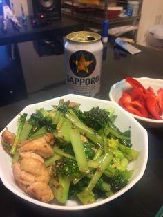 ブロッコリーと小松菜と鶏肉
