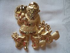 Vintage Signed AJC Goldtone/Matt Santa and his Reindeers Brooch/Pin