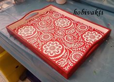 ♥♥ Hobi Vakti ♥♥ Wooden Painting, Wooden Art, Dot Painting, Wood Crafts, Diy And Crafts, Painted Trays, Wood Tray, Tray Decor, Diy Box