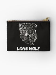 """A design that says """"Lone Wolf"""" with a sketch of a strong looking wolf. Perfect for those whose taking a journey alone to be the best version of themselves. • Millions of unique designs by independent artists. Find your thing. Lone Wolf, Zip Around Wallet, Finding Yourself, Pouch, Take That, Bags, One Man Wolf Pack, Handbags, Taschen"""