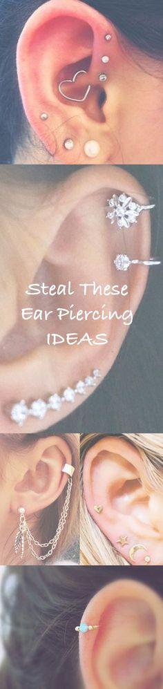 Cute Ear Piercing Ideas at MyBodiArt.com - Cartilage, Tragus, Helix, Rook, Daith, Jewelry, Jewellery, Piercings, Earrings, Ear Jacket, Ear Cuffs