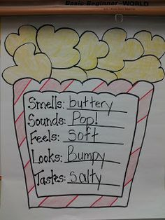 Five senses with popcorn. Would be cool to do during snack time. - Five senses with popcorn. Would be cool to do during snack time. Has the students learning when the - Five Senses Preschool, 5 Senses Activities, My Five Senses, Kindergarten Science, Preschool Themes, Preschool Lessons, Preschool Classroom, Teaching Science, Classroom Activities