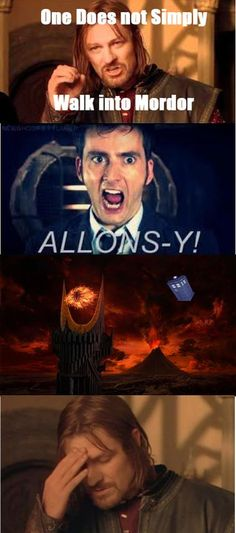 The Doctor simply walks into Mordor. I love Lord of the Rings and Dr. Who so this is hilarious