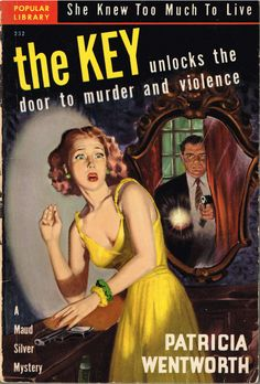 Vintage Book Pulp English Murder Mystery, Miss Silver Mystery, The Key by Patricia Wentworth, 1944 Pulp Fiction Book, Crime Fiction, Fiction Novels, Science Fiction, Detective, Travel Literature, Murder Mystery Books, Vintage Book Covers, Vintage Books