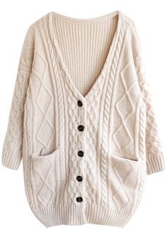 Cable Knit Oversized Cardigan - Apricot - Twin Pockets At Front