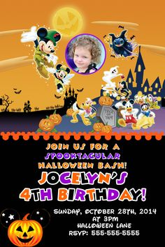 Mickey Mouse Halloween Birthday Invitations 899 Party