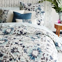 Organic Stained Glass Floral Duvet Cover + Shams | west elm