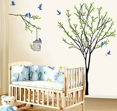 Tree with birds wall decal, Birdcage wall sticker, Nature design tree decal for babys room