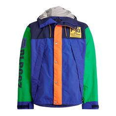Form meets function in this color-blocked jacket which unites lightweight water-repellent fabric with utilitarian elements like breathable zip vents and mesh lining. Its bold graphics nod to Ralph Lauren's iconic Polo collections of the early Sweater Jacket, Hooded Jacket, Rain Jacket, Polo Ralph Lauren, Designer Sportswear, Orange Is The New Black, Streetwear Fashion, Mantel, Motorcycle Jacket